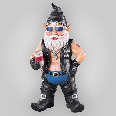 Biker Dude Garden Gnome