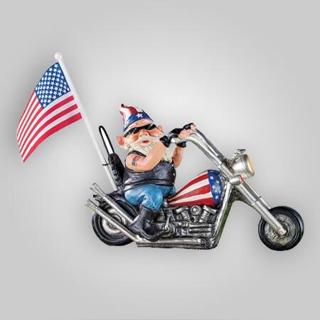 Patriotic Motion-Activated Biker Gnome Figurine