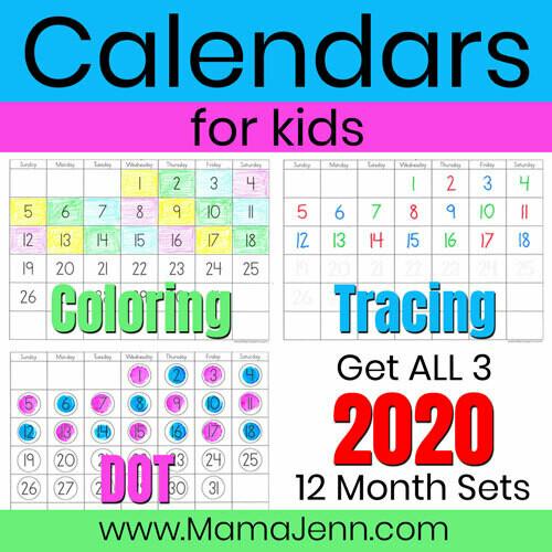 2020 Calendars for Kids