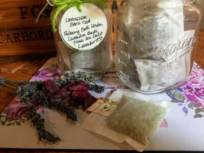 Lavender Bath Tea Bags Glass Jar