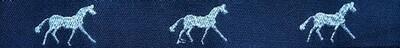 Horse Binding- Navy/Silver Horse