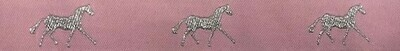 Horse Binding- Pale Pink/Silver Horse
