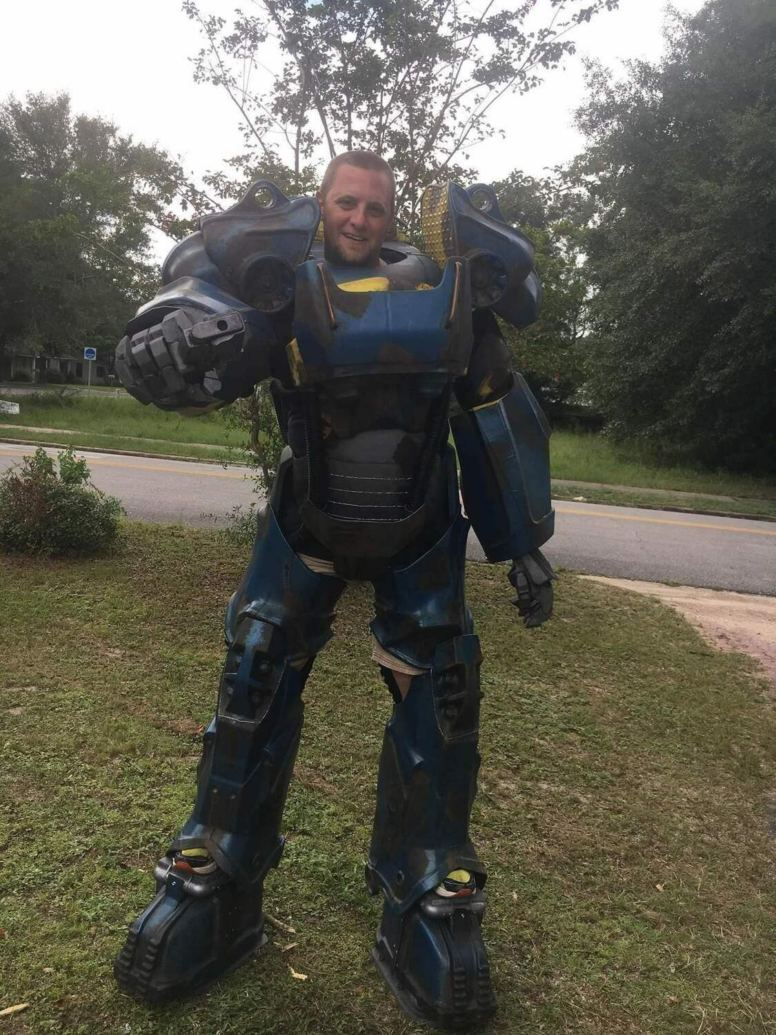 Fallout T60 Power Armor Costume Vault Tec Blue Paint Scheme with Helmet