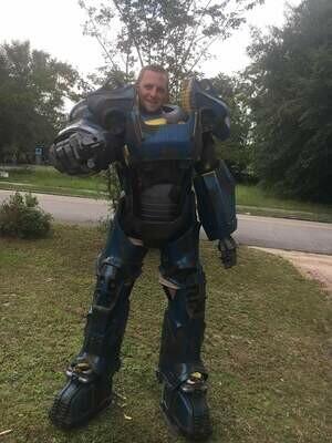 Fallout T60 Power Armor Costume Vault Tec Blue Paint Scheme with Helmet