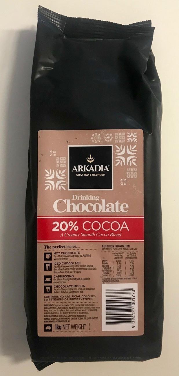 ARKADIA PREMIUM DRINKING CHOCOLATE 20% COCOA