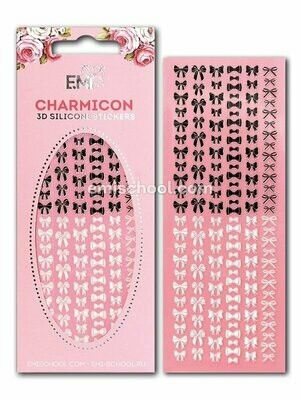 Charmicon 3D Silicone Stickers Bows, Black/White