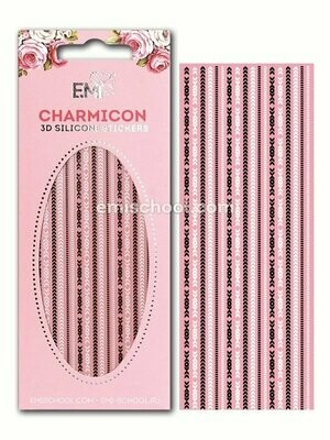 Charmicon 3D Silicone Stickers Chain #5, Black/White