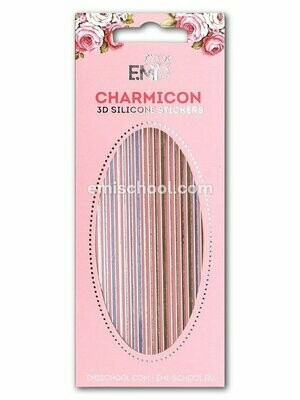Charmicon 3D Silicone Stickers #41 Lines, Gold/Silver