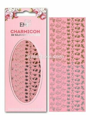 Charmicon 3D Silicone Stickers Love Mix, Gold/Silver