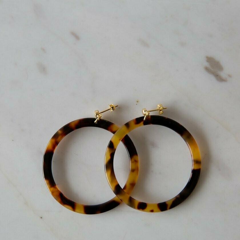 Hoop Stud Earrings - Torty Dark