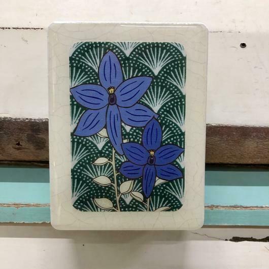 Mini Woodblock - Blue Orchid