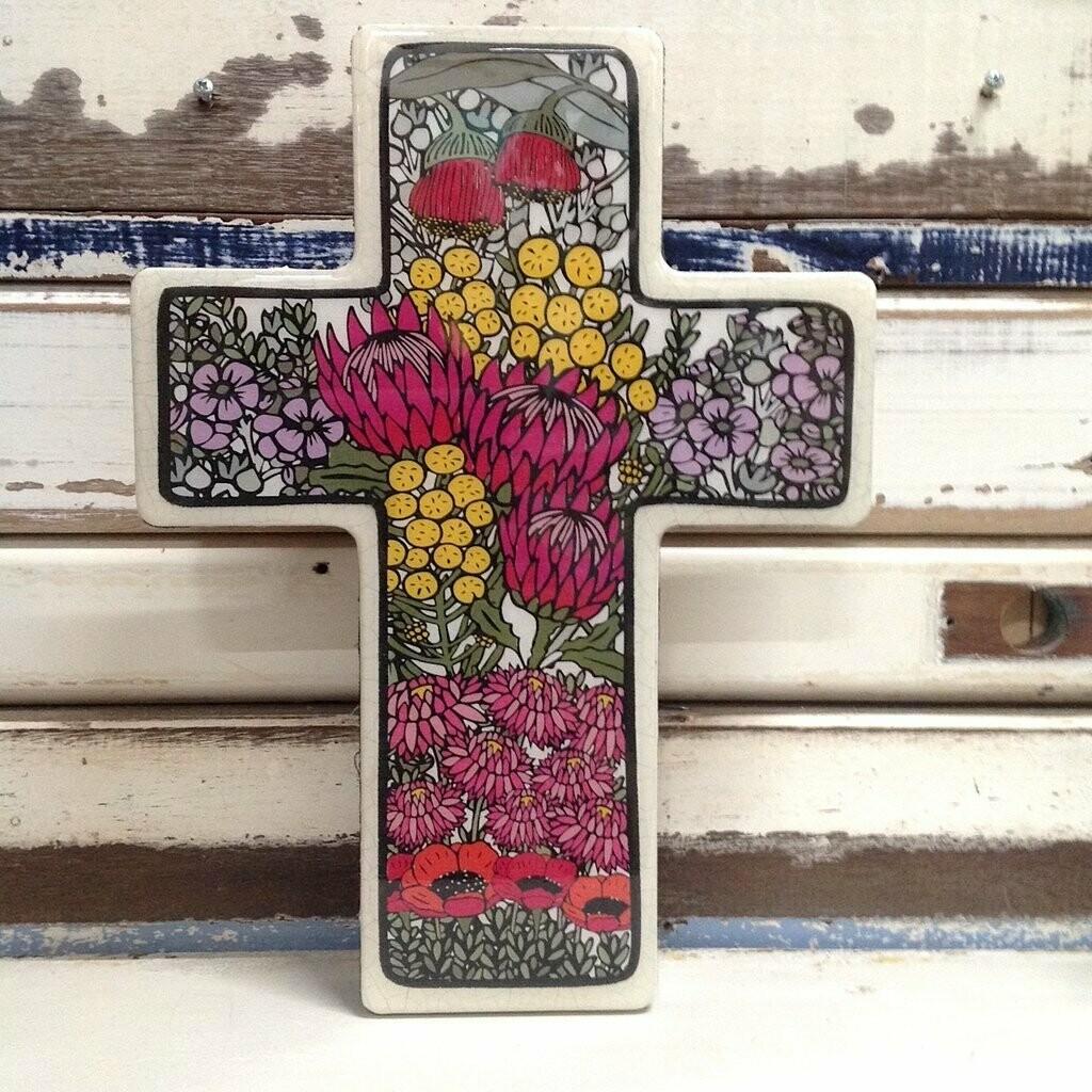 Large Cross Woodblock - Wildflower