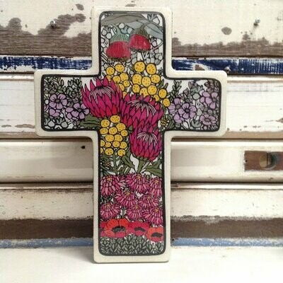 Large Cross Woodblock - Wildflower