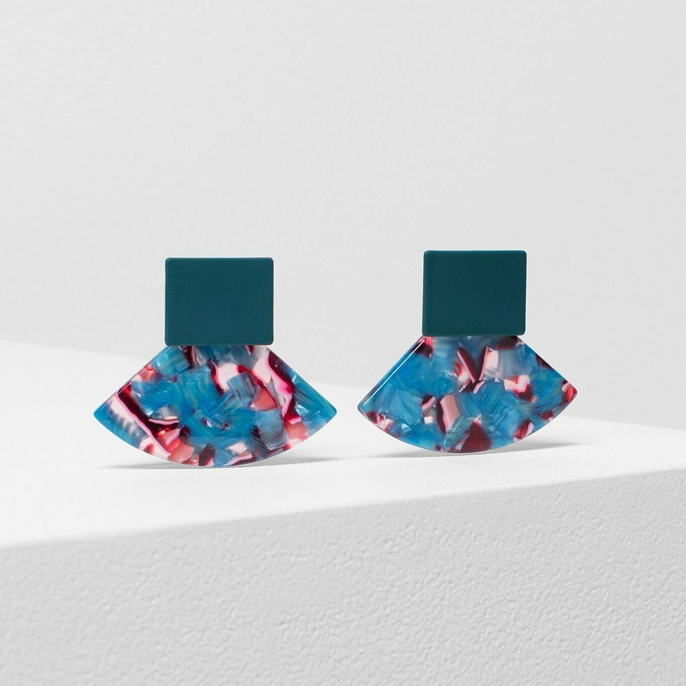 Heden Drop Earring with Multi Coloured Resin