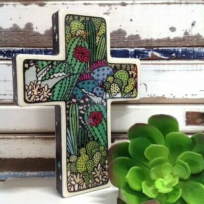 Large Cross Woodblock - Cactus