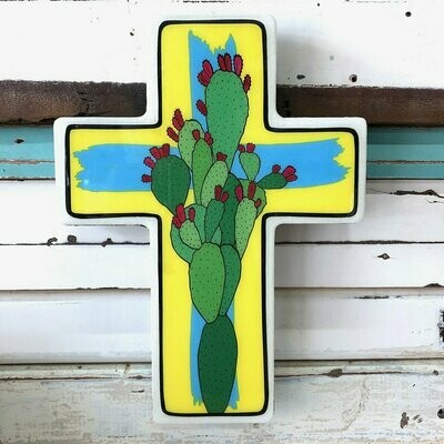 Small Cross Woodblock - Prickly Pear Pop