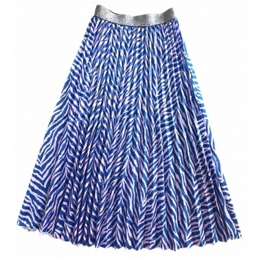 Pleated Skirt - Blue with Pale Pink Zebra - One Size