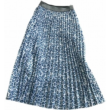 Pleated Skirt - Blue Leopard - One Size