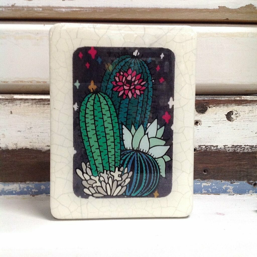 Mini Woodblock - Cactus Fiesta