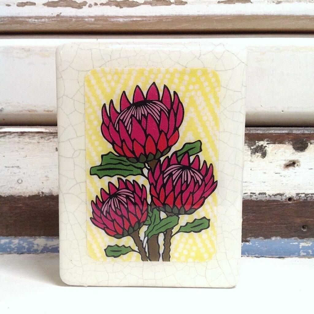 Mini Woodblock - Protea Bloom