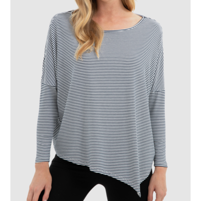 Relaxed Boatneck Top - Navy/White Striped