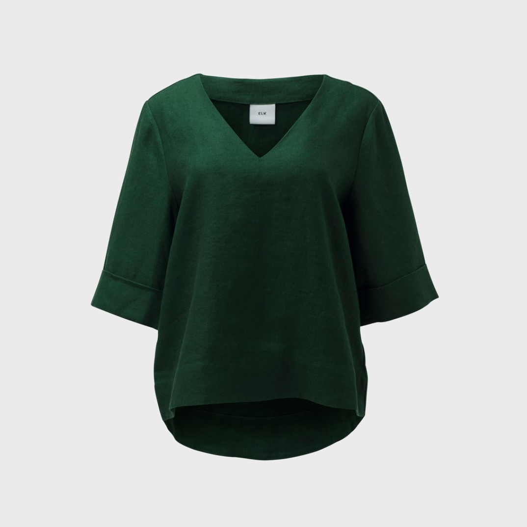 Ilona Top - Pine - French Linen