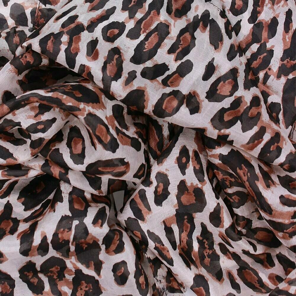 African Animal Hand Printed Scarf - 100% Silk