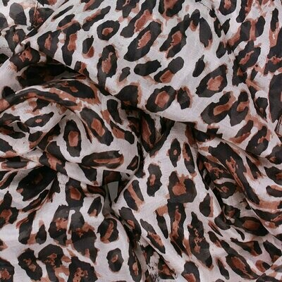 African Animal Hand Printed Scarf - 100% Silk