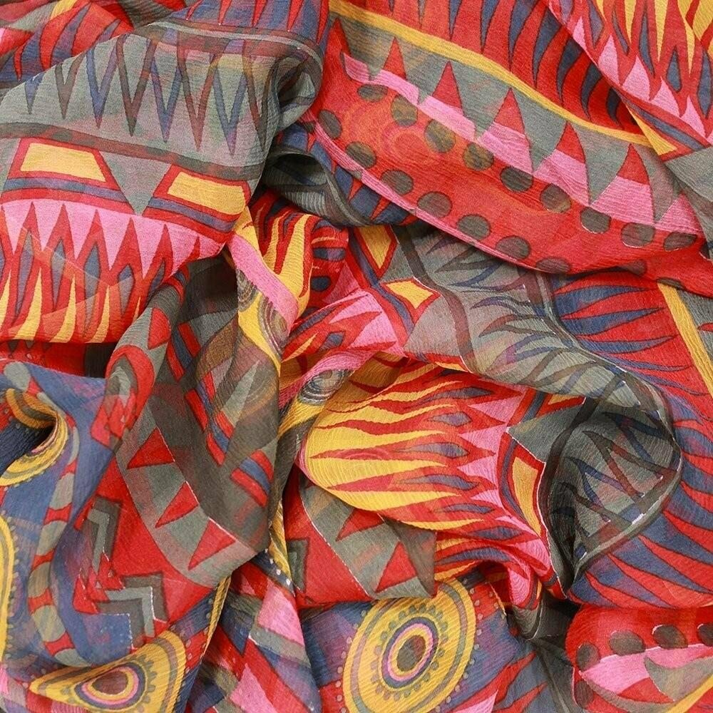 Sissy Printed Large Crinkle Scarf - 100% Silk