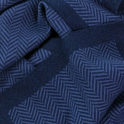 Herringbone Cotton Scarf - Navy - Unisex