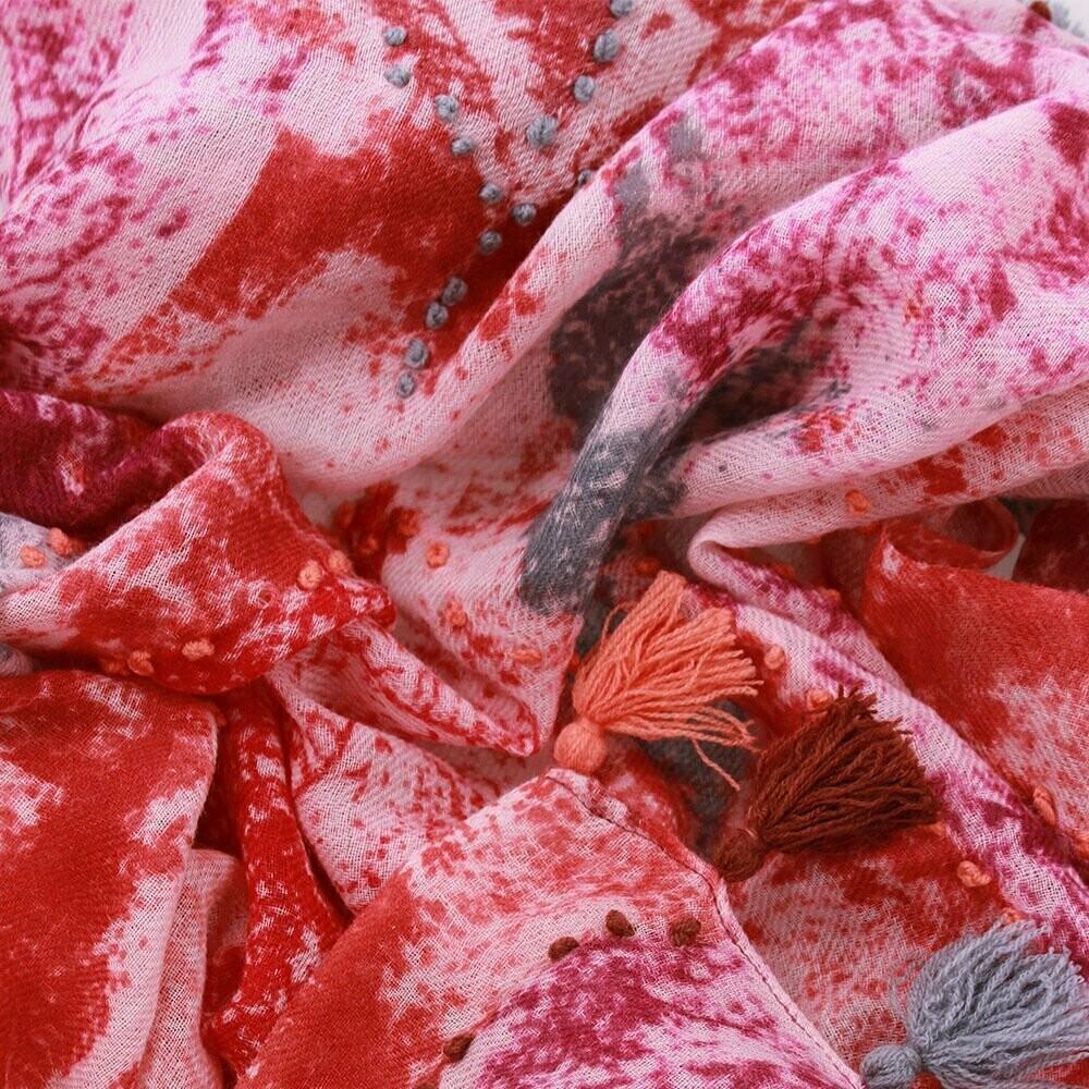 Vienna Hand Embroidered Wool Scarf - Sienna