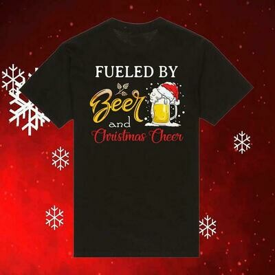 Fueled By Beer and Christmas Cheer Shirt, Funny Drinking Shirt, Christmas Gifts for Friends, Ugly Christmas Sweater Hoodie For Women, christmas shirt, christmas tshirt, shirt for christmas