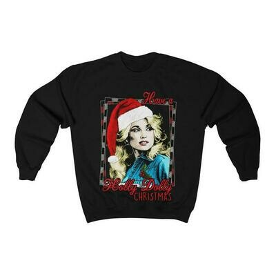 Dolly Parton Christmas Sweater | Have a holly dolly Christmas Unisex Heavy Blend Crewneck Sweatshirt, Have a holly dolly christmas, funny woman holiday shirt,christmas shirt, women's christmas shirt