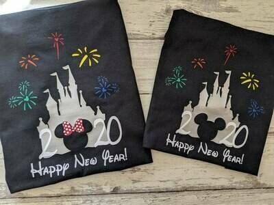 Happy New Year Minnie and Mickey Disney Shirts New Years Eve, Disney Christmas Raglan Shirts for Family, Minnie Mickey Matching Christmas Pajamas shirt