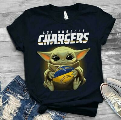 Los Angeles Chargers shirt Baby Yoda shirt, Star Wars t-shirt, Baby Yoda Star wars Shirt Cotton T-Shirt With Sayings, Disney Lilo Stitch, baby Yoda Star War, Yoda Stitch Friends, Star Wars Fanatics