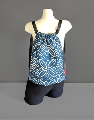 Batik Navy Blue Drawstring Bag