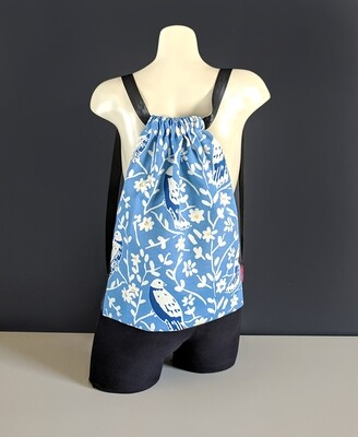 Pretty Blue Bird Drawstring Bag