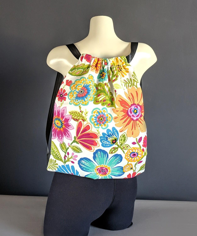 Colorful Floral Drawstring Bag