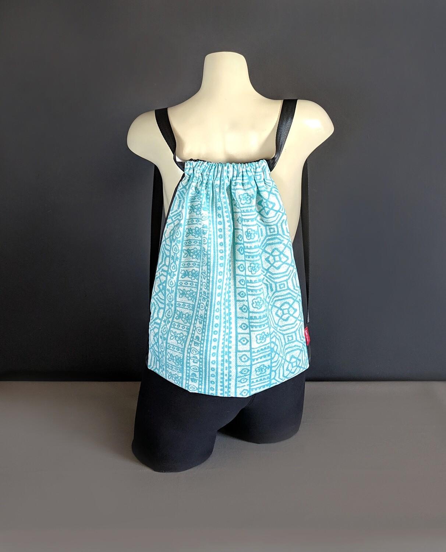 Tribal Turquoise Blue Drawstring Bag