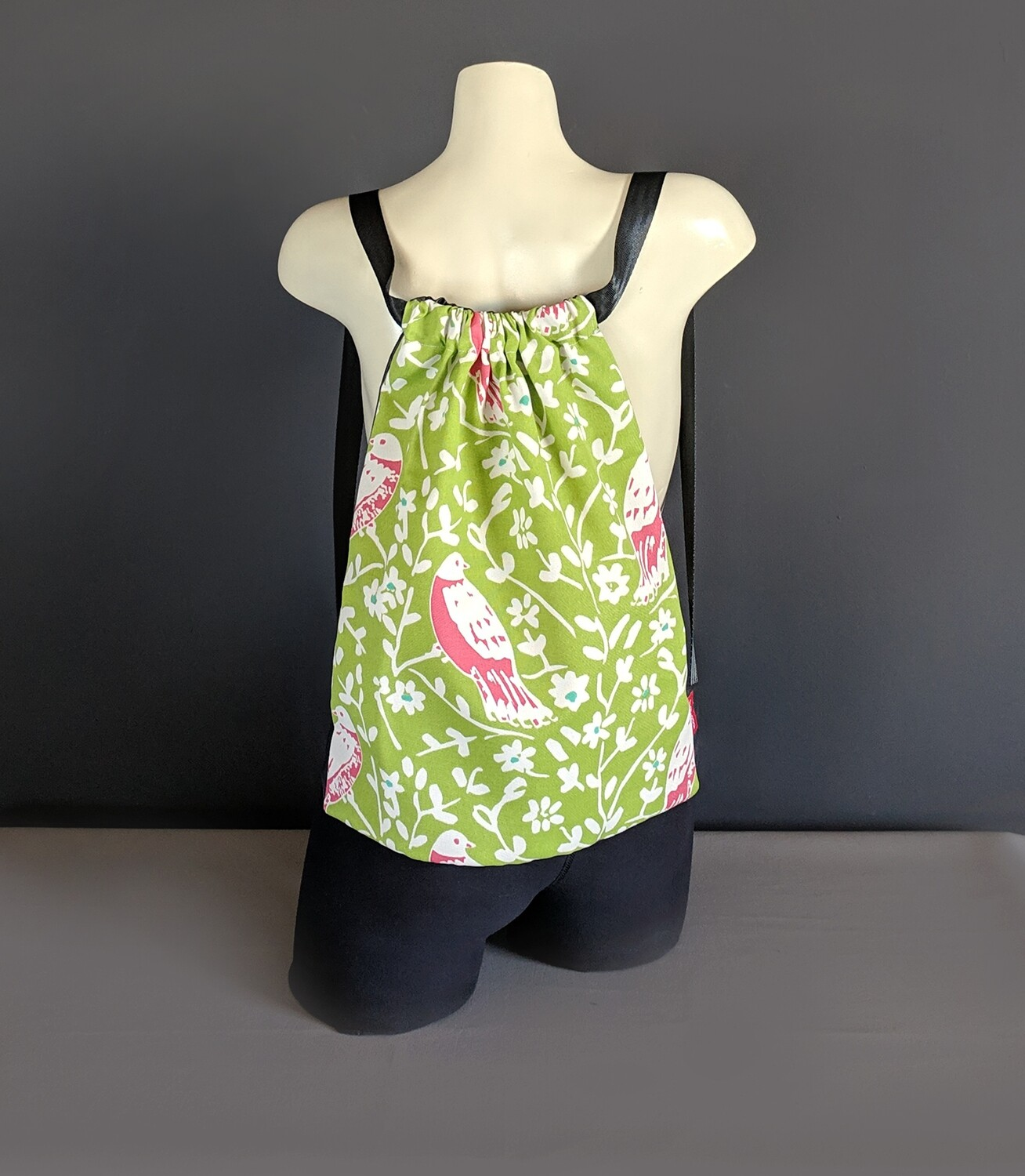 Green Bird Drawstring Bag
