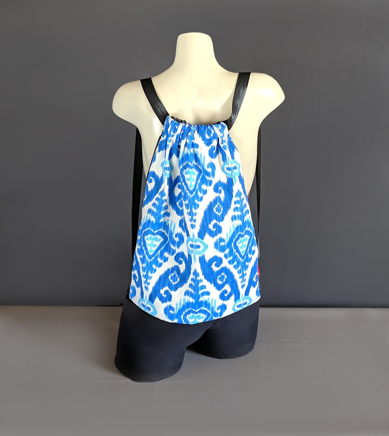 Ikat Blue Drawstring Bag