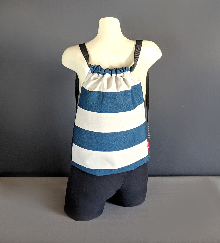 Navy Cabana Stripe Drawstring Bag