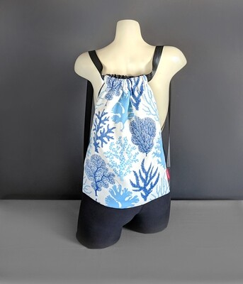 Ocean Coral Blue Drawstring Bag