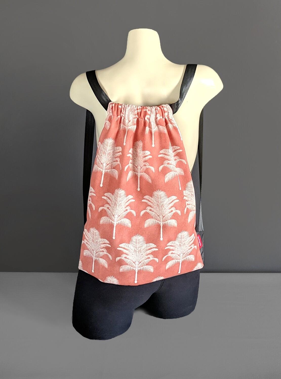 Peach Pink Palm Trees Drawstring Bag