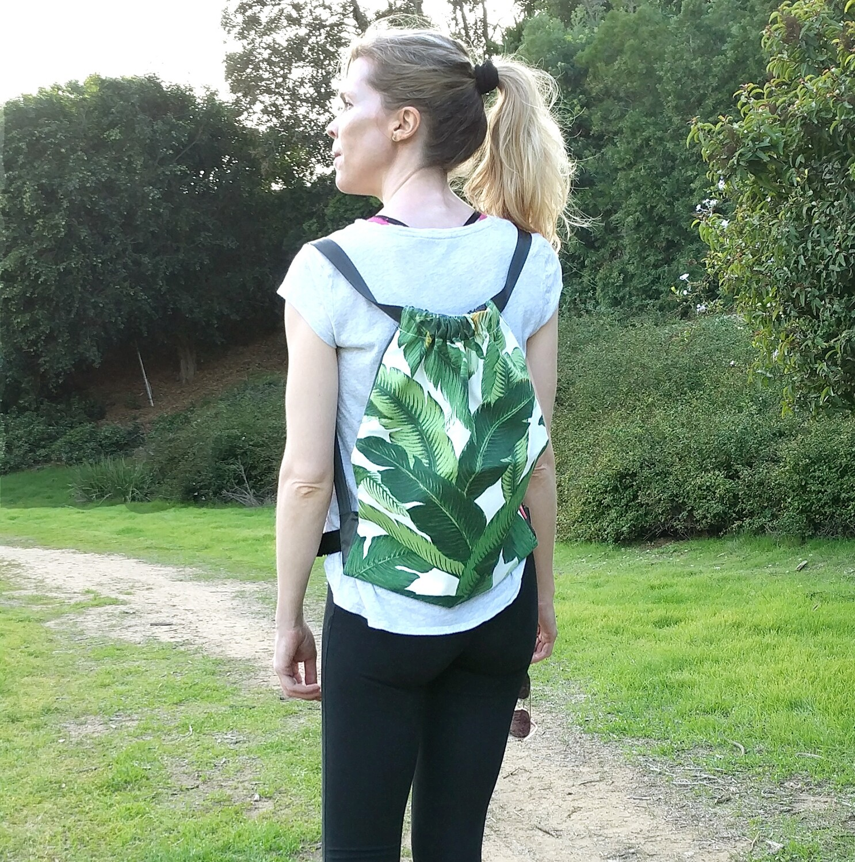 Tropical Jungle Green Drawstring Bag
