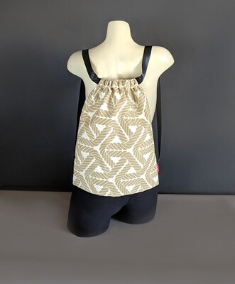 Beige Rope Print Drawstring Bag
