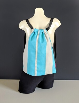 Turquoise Blue Stripe Drawstring Bag