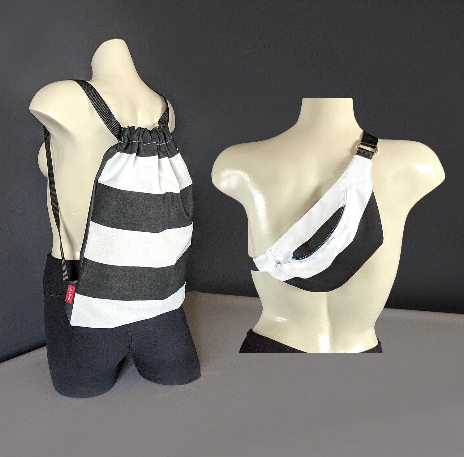 Black White Stripe Bag Set