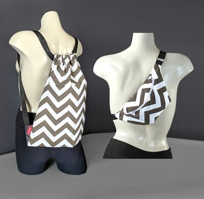 Brown Chevron Bag Set