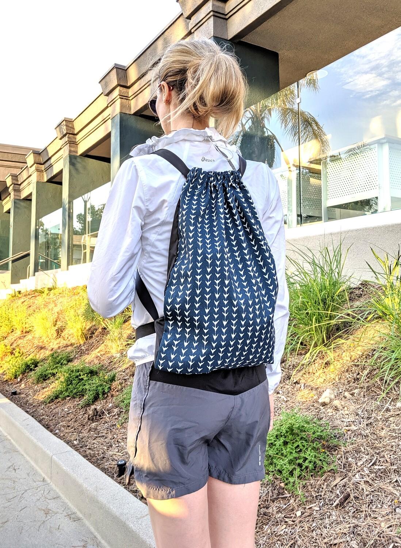Vine Navy Blue Drawstring Bag